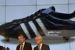 during the topping out ceremony of German Football Association (DFB) football museum on April 4, 2014 in Dortmund, Germany. The opening is planned for the year 2015.